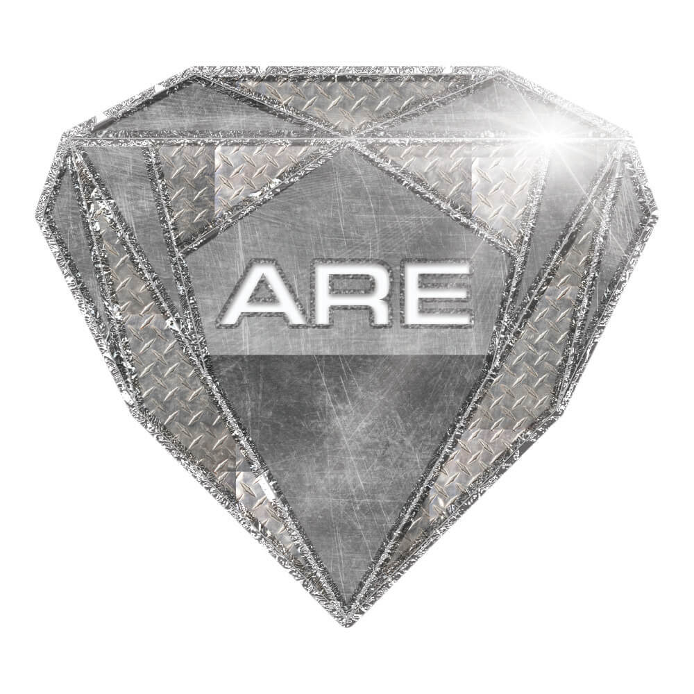 Shield of steel in the shape of a diamond with the letters a, r, and e in capitols. They stand for aspen roofing and exteriors
