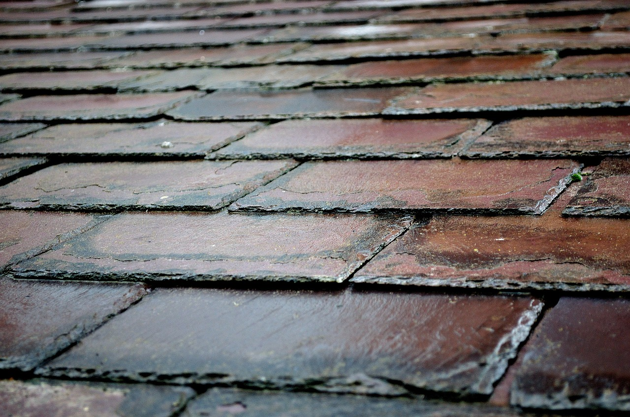 Beautiful non-weathering purple slate tiles combine to make a roof.