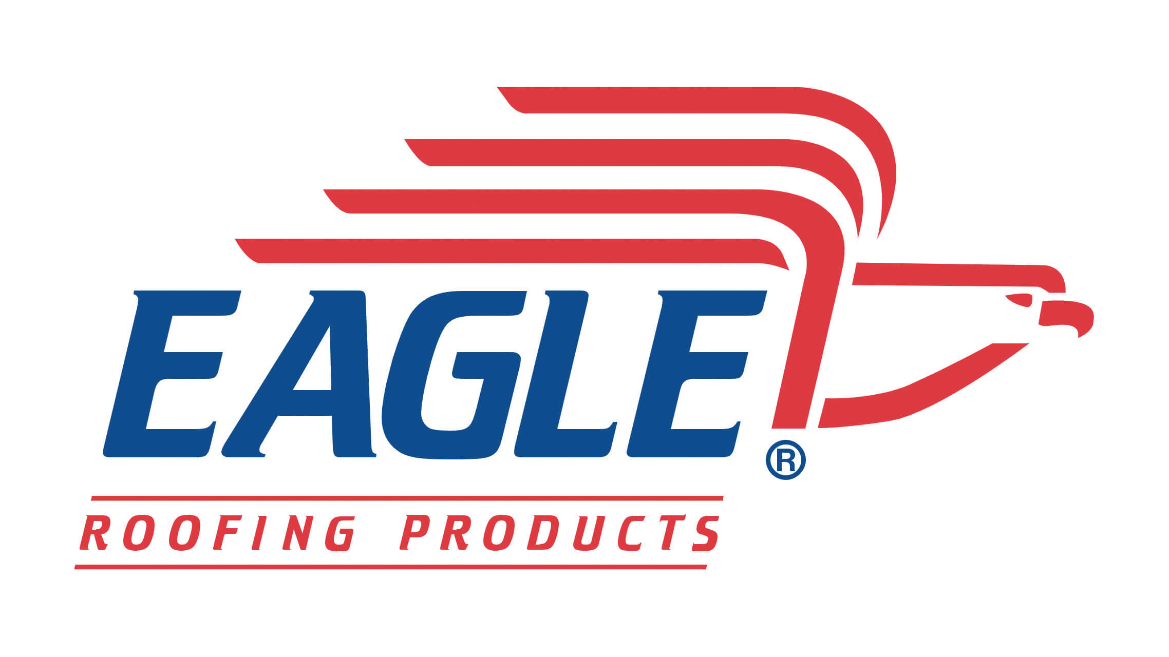 Red, white, and blue logo with vectors shaping a bald eagle. The word, eagle is also spelled out.