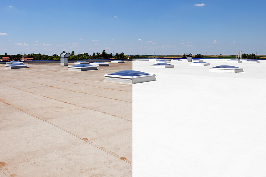Flat commercial roof before restoration, and after restoration displayed side by side.